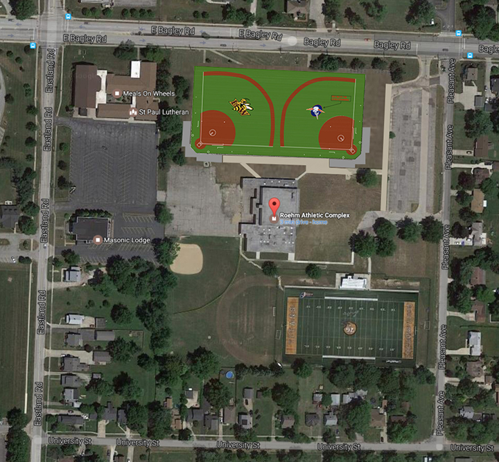 A bird's-eye view of the location of new softball fields under construction at the Roehm Athletic Complex