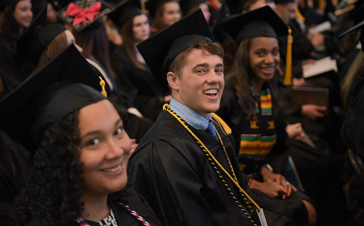 Graduates seated for Baldwin Wallace University's spring commencement