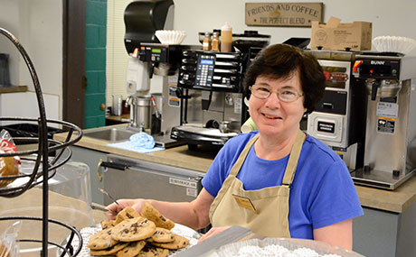 Baldwin Wallace University dining services employee smiles