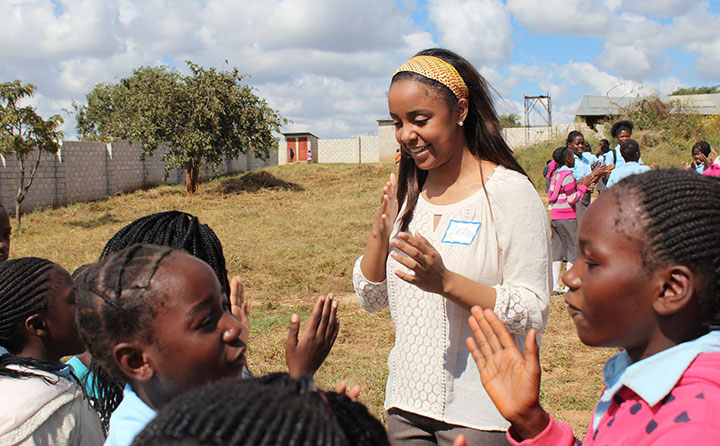 Baldwin Wallace University SLP graduate student Andrea Flowers works with students in Zambia.