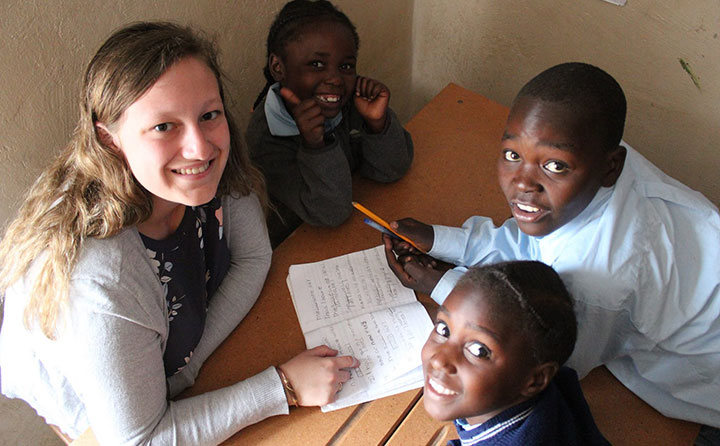 Baldwin Wallace University SLP graduate student Hannah Kerr works with students in Zambia.