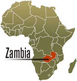 Map of Africa and Zambia