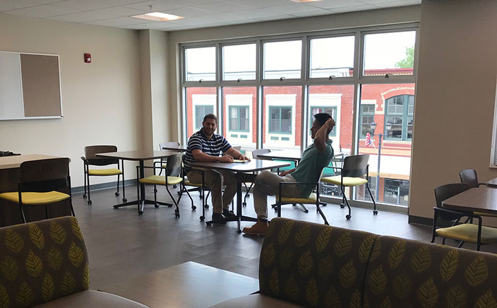 The new Front Street Residence Hall's common areas feature light-filled gathering spaces overlooking downtown Berea.