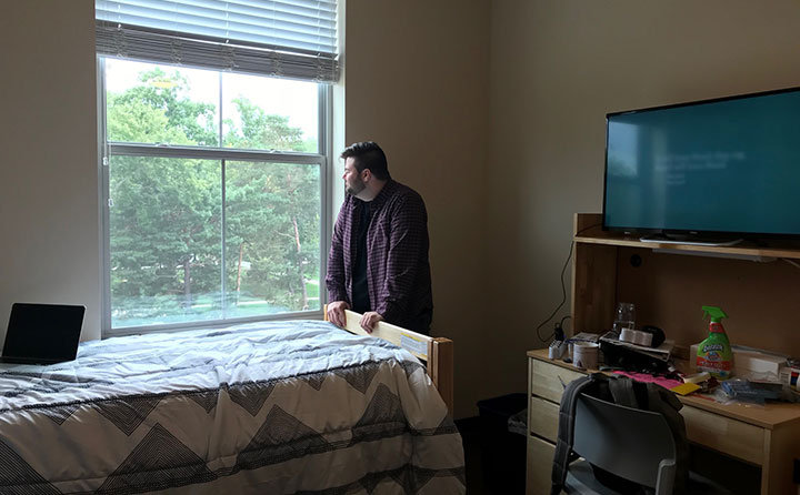 BW Junior RA Matthew Sycle was among the first students to move into the new Front Street Residence Hall.