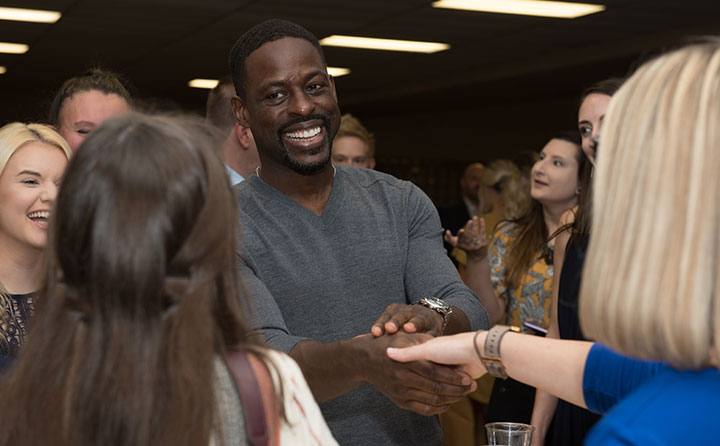 Sterling K. Brown greets BW students at reception
