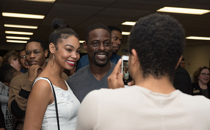 Sterling K. Brown poses with BW reception guests