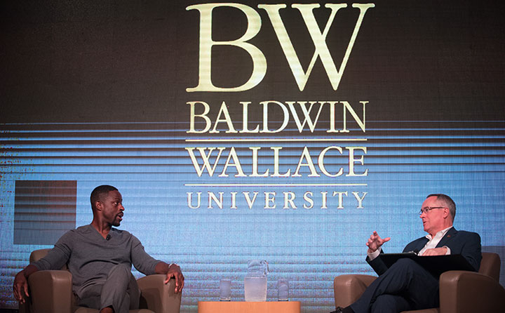 Sterling K. Brown and BW President Bob Helmer