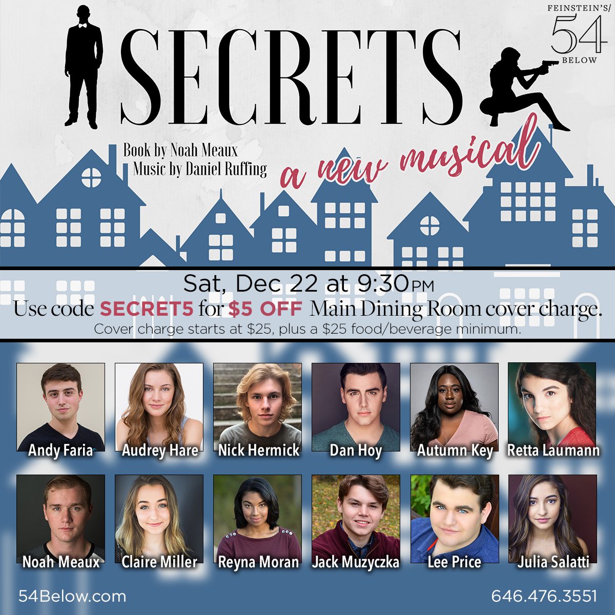 Poster of Secrets: A New Musical with headshots of students performing