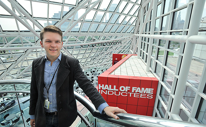 Photo of Nick Wilders interning at Rock-n-Roll Hall of Fame