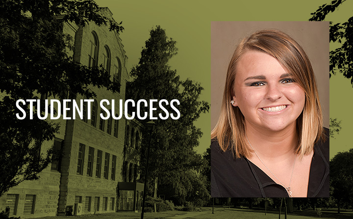Graphic of Alumni Success with headshot of BW alumna Maddie Ziccardi