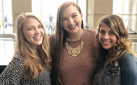 Photo of (left to right) Emma Hubbard '21, Gwyn Dubel '19 and Alli Zarlinga '20