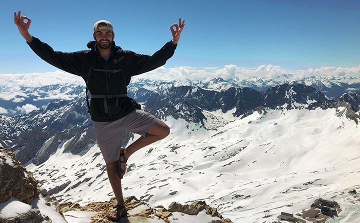 Exercise science major Will Vance on top the highest peak in Germany's Wetterstein mountains.