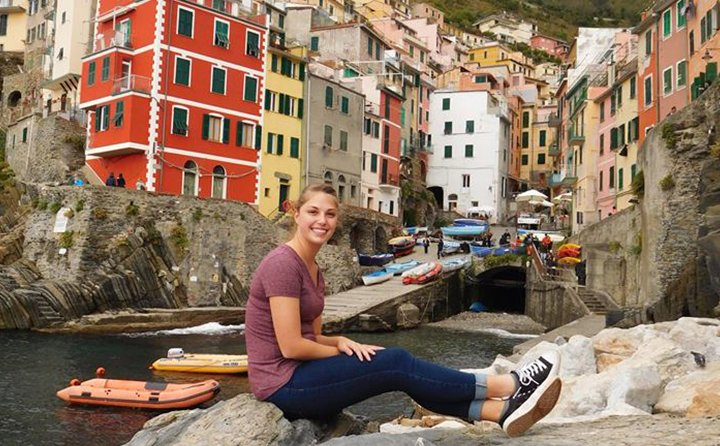 Biology major Savannah Craig on a weekend excursion in Riomaggiore, La Spezia, Italy.
