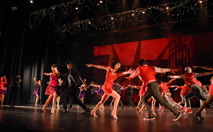 Students perform a dance number in a Music Theatre production