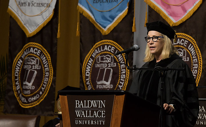 Dee Bagwell Haslam delivers the Baldwin Wallace University spring commencement address