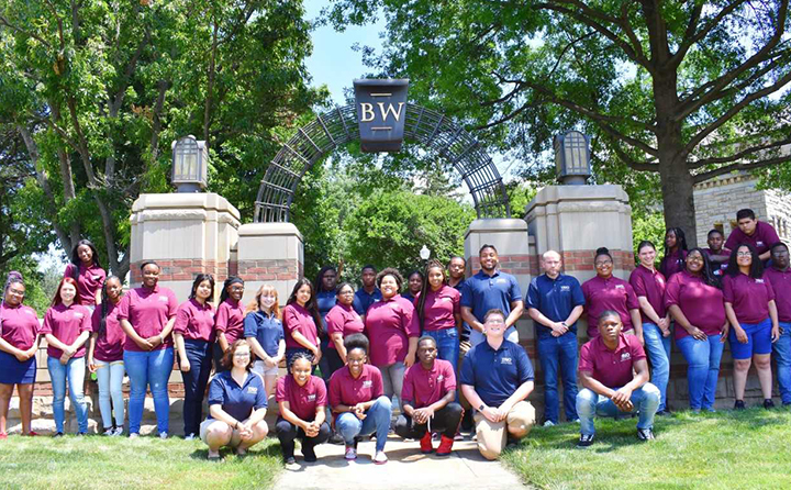 Group photo of Upward Bound students in front of Baldwin Wallace University arch